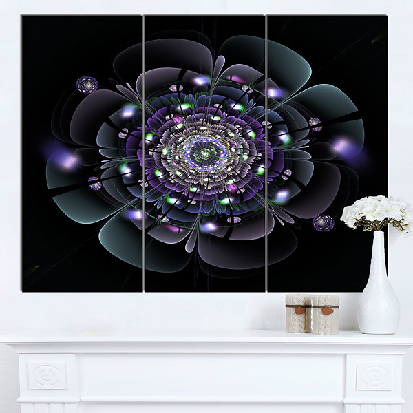 Designart Blue And Black Fractal Flower Floral Canvas Art Print 3 Panels