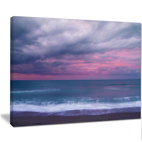 Designart Blue And Pink Unset Over Sea Seashore Canvas Art Print