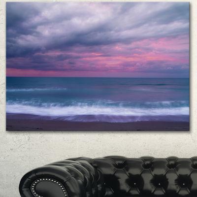 Design Art Blue And Pink Unset Over Sea Seashore Canvas Art Print
