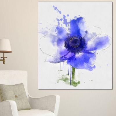 Designart Blue Anemone Sketch Watercolor Floral Canvas Art Print