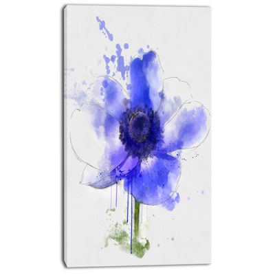 Designart Blue Anemone Sketch Watercolor Floral Canvas Art Print