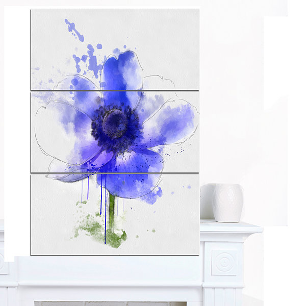 Design Art Blue Anemone Sketch Watercolor Floral Canvas Art Print 3 Panels