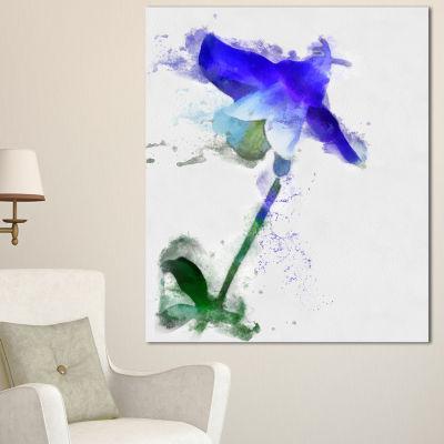 Design Art Blue Bellflower Sketch Watercolor Floral Canvas Art Print 3 Panels