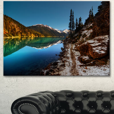 Designart Blue Clear Lake With Mountains Extra Large Landscape Canvas Art Print