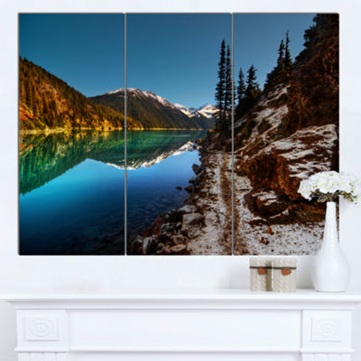 Designart Blue Clear Lake With Mountains Extra Large Landscape Canvas Art Print 3 Panels