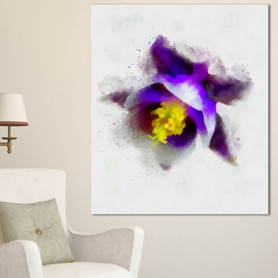 Designart Blue Flower With Yellow Stigma Floral Canvas Art Print
