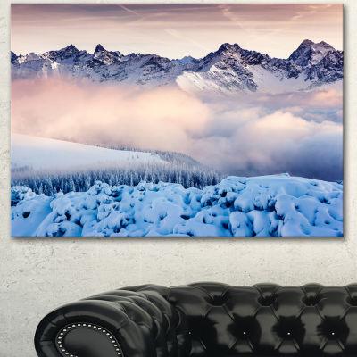 Designart Blue Foggy Terrain With Mountains Landscape Canvas Art Print  3 Panels