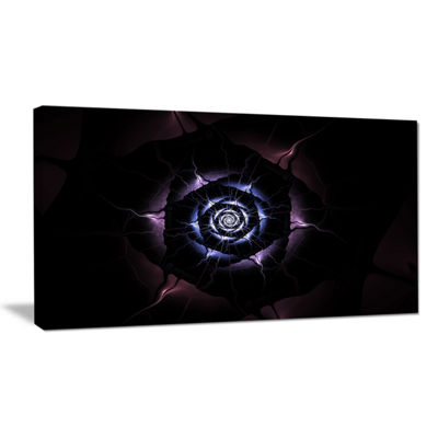 Designart Blue Fractal Flower With Purple Flame Floral Canvas Art Print