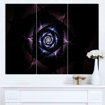 Designart Blue Fractal Flower With Purple Flame Floral Canvas Art Print 3 Panels