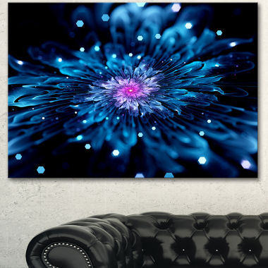 Design Art Blue Fractal Flower With Shiny ParticlesFlower Artwork On Canvas