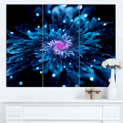 Design Art Blue Fractal Flower With Shiny ParticlesFlower Artwork On Canvas 3 Panels