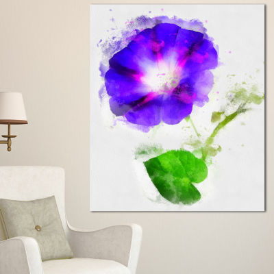 Designart Blue Gentiana Alpina Illustration FloralCanvas Art Print