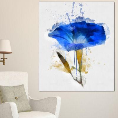 Designart Blue Gentiana Alpina Watercolor FloralCanvas Art Print