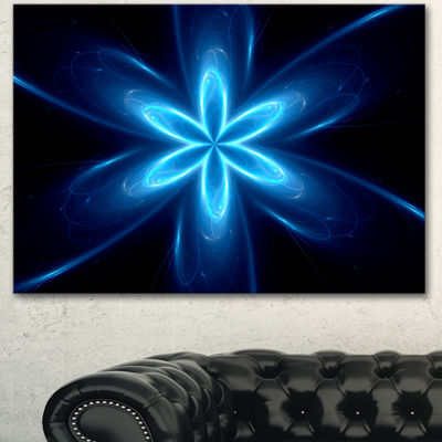 Designart Blue Glowing Space Fractal Flower FlowerArtwork On Canvas 3 Panels