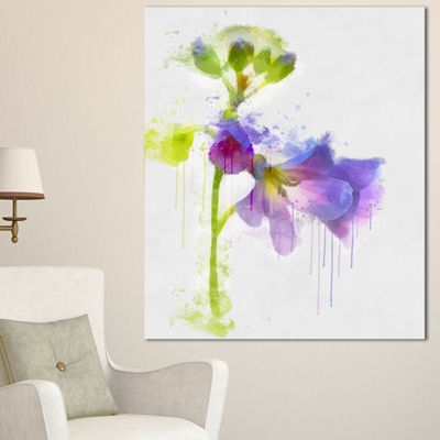 Designart Blue Hand Drawn Eustoma Watercolor Floral Canvas Art Print