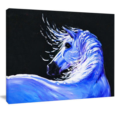 Designart Blue Horse Acrylic Art Abstract CanvasArt Print