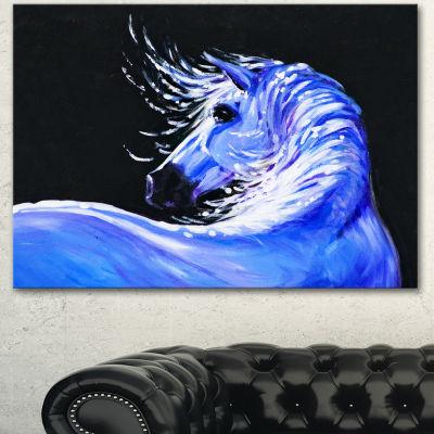 Designart Blue Horse Acrylic Art Abstract CanvasArt Print 3 Panels