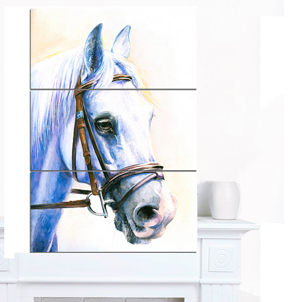 Designart Blue Horse With Bridle Abstract CanvasArt Print 3 Panels