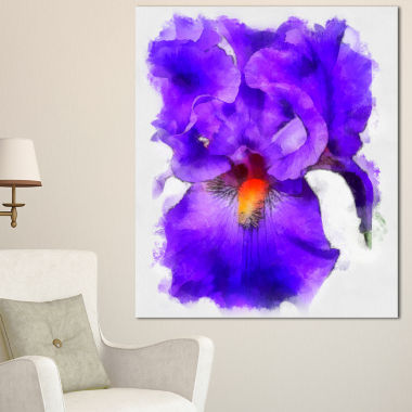 Designart Blue Iris Flower Sketch Watercolor Floral Canvas Art Print