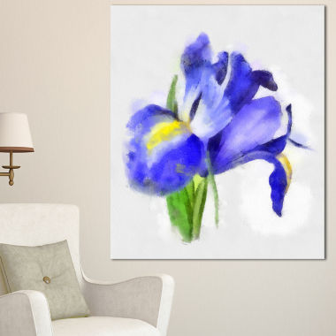 Designart Blue Iris Illustration Watercolor FloralCanvas Art Print