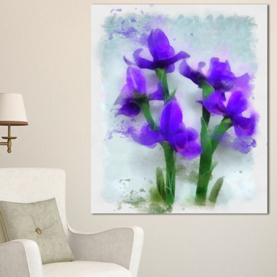 Designart Blue Irises Illustration Watercolor Floral Canvas Art Print