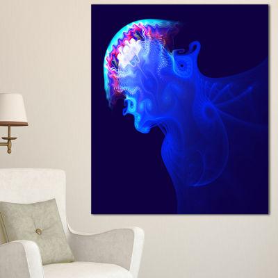 Designart Blue Jellyfish In Ocean Animal Canvas Art Print