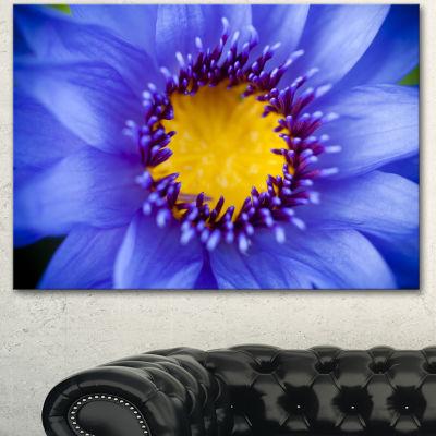 Designart Blue Lotus Close Up Watercolor FlowersCanvas Wall Artwork 3 Panels