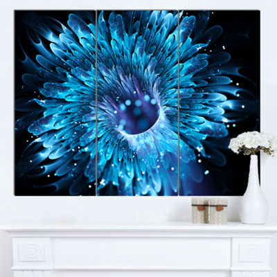 Designart Blue Magical Wormhole Fractal Large Abstract Canvas Wall Art 3 Panels