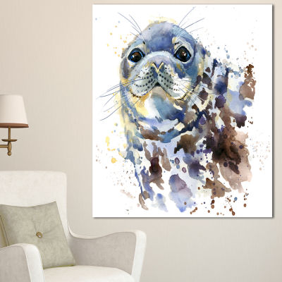 Designart Blue Marine Seal Watercolor ContemporaryAnimal Art Canvas 3 Panels