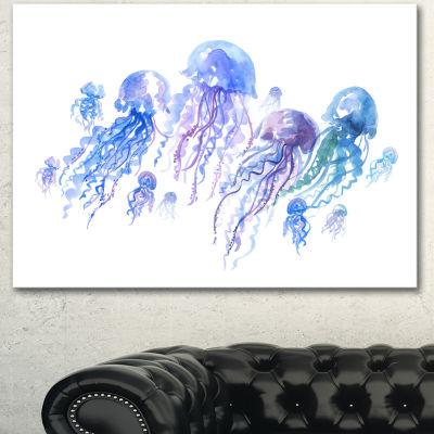 Designart Blue Purple Jellyfish Group Abstract Canvas Art Print