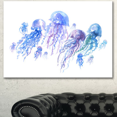 Designart Blue Purple Jellyfish Group Abstract Canvas Art Print 3 Panels