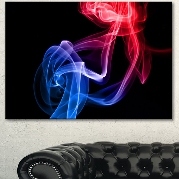 Designart Blue Red Floating Smoke On Black LargeAbstract Canvas Wall Art