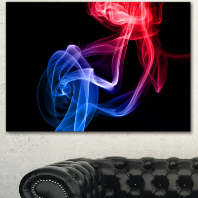 Designart Blue Red Floating Smoke On Black Large Abstract Canvas Wall Art  3 Panels