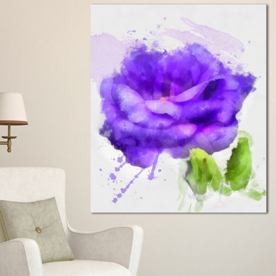 Designart Blue Rose Flower With Paint Splashes Large Floral Canvas Artwork