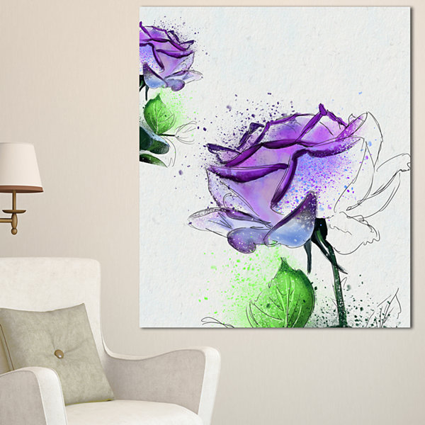 Designart Blue Rose Flowers With Green Leaves Floral Canvas Art Print 3 Panels