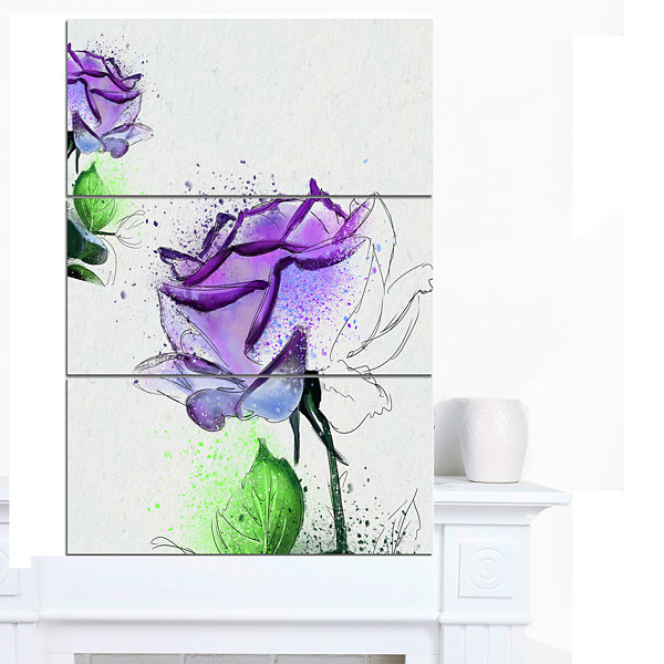 Design Art Blue Rose Flowers With Green Leaves Floral Canvas Art Print 3 Panels