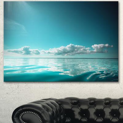 Designart Blue Sea Horizon And Skyscraper Large Seashore Canvas Art Print