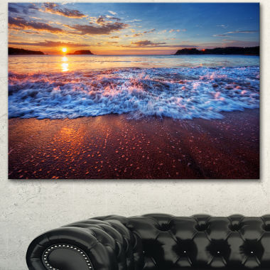 Designart Blue Sea Waves During Sunset Seashore Canvas Art Print