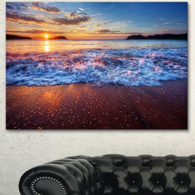 Designart Blue Sea Waves During Sunset Seashore Canvas Art Print 3 Panels