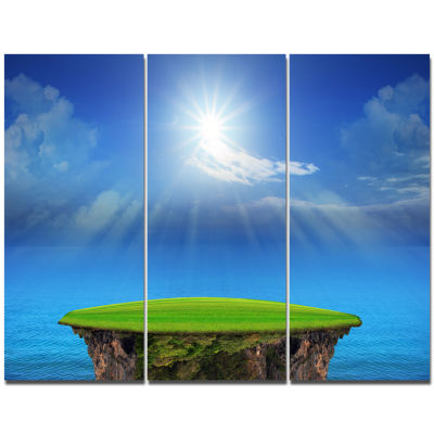 Designart Blue Sky And Sun Shining Landscape Canvas Art Print  3 Panels