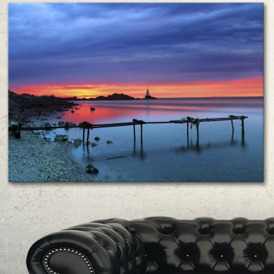 Designart Blue Sky And Waters Panorama Modern Seashore Canvas Art 3 Panels