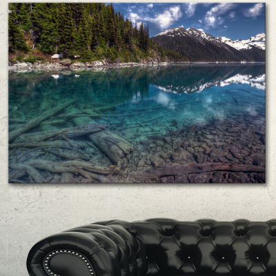 Design Art Blue Waters And Mountains Extra Large Landscape Canvas Art Print