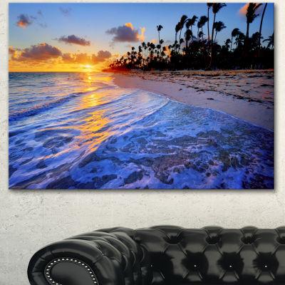 Designart Blue Waves Along The Shore Seashore Canvas Art Print