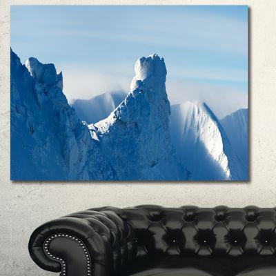 Designart Blue Winter Hills Panorama Landscape Canvas Art Print