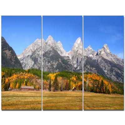 Designart Blue Winter Hills Panorama Landscape Canvas Art Print  3 Panels