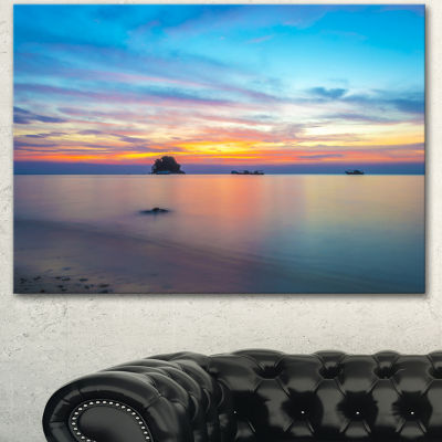 Designart Bluish Calm Sunset And Seashore Large Seashore Canvas Wall Art