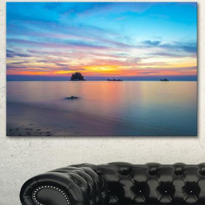 Designart Bluish Calm Sunset And Seashore Large Seashore Canvas Wall Art 3 Panels