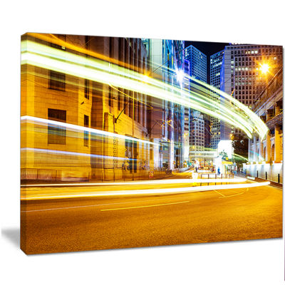 Designart Blur Motion Traffic Trail In Modern CityExtra Large Canvas Art Print