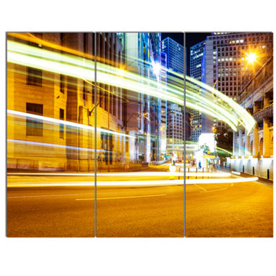 Designart Blur Motion Traffic Trail In Modern CityExtra Large Canvas Art Print 3 Panels
