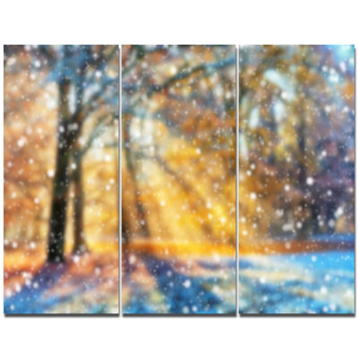 Designart Blur Winter With Snow Flakes Landscape Canvas Art Print  3 Panels
